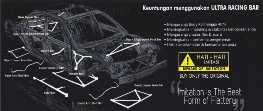:: ULTRA RACING AUTHORIZED DISTRIBUTOR INDONESIA :: Frontbar / Strutbar - Fenderbar - Lowerbar -  Sidebar - Anti roll bar -  Swaybar - Rearbar - Roombar | Stabilizer Mobil